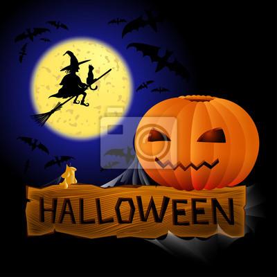 Czarownica i dyni Halloween karty