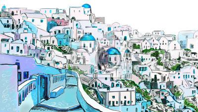 Fototapeta Czerpiąc z greckim miasta