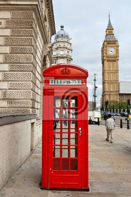 Fototapeta Czerwona budka telefoniczna. Londyn, Anglia