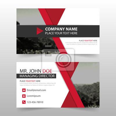 Fototapeta Czerwona kartka Korporacyjnych, szablon wizytówka, poziome proste czyste układ szablonu projektu, Biznes banner szablon dla strony internetowej