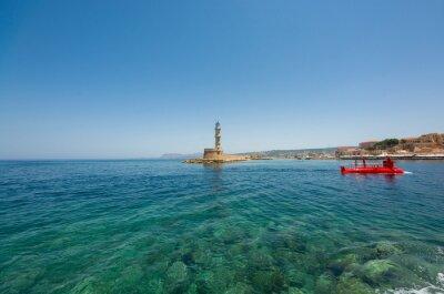 Czerwona łódź podwodna. Crete Chania. Wyspa grecka.