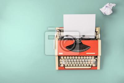 Fototapeta Czerwona maszyna do pisania (widok z góry)
