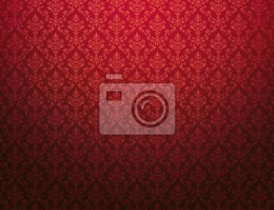 Fototapeta Czerwona tapeta z adamaszkowym wzorem