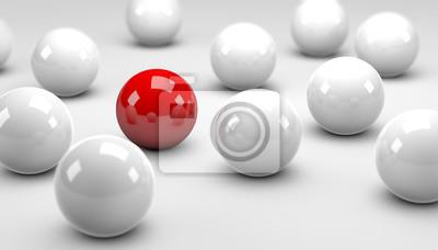 Fototapeta Czerwone Kulki / białe kule / Concept