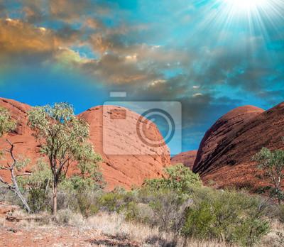 Fototapeta Czerwone piaski i skały Australian Outback w zimie