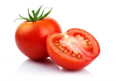 Fototapeta Czerwone pomidory z cięcia samodzielnie na białym tle