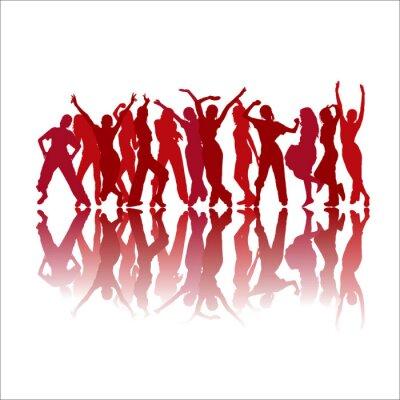 Fototapeta Czerwone tańczące sylwetki