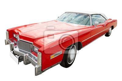 czerwony cadillac samochód, cabriolet, samodzielnie