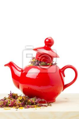czerwony czajnik z zioła lecznicze - echinacea