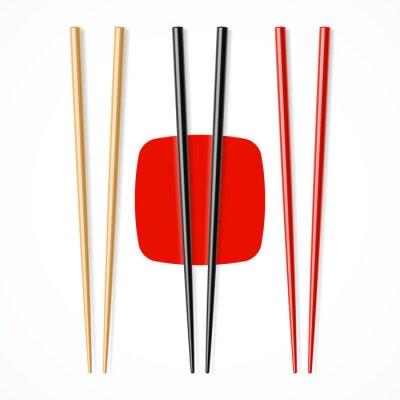 Fototapeta Czerwony, czarny, drewniane chopsicks