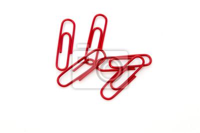 Fototapeta Czerwony spinacz na białym tle
