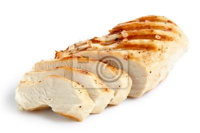 Fototapeta Częściowo plasterkach grillowaną pierś kurczaka z czarnego pieprzu i soli kamiennej.