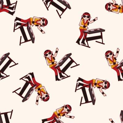 Fototapeta członek zespołu klawiszowiec, cartoon bezszwowe tło wzór