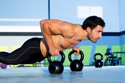 Fototapeta Człowiek Gym push-up pushup siły z Kettlebell