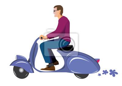 Człowiek na vintage skuter Vespa niebiesko
