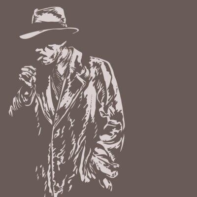 Fototapeta Człowiek w kapeluszu, styl graffiti, ilustracji wektorowych