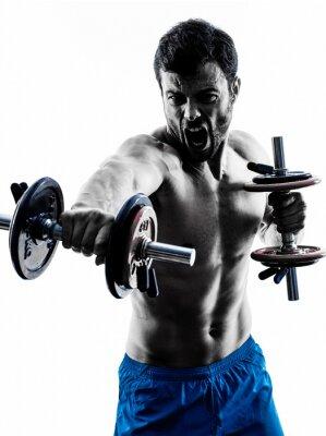 Fototapeta człowiek wykonywania ćwiczeń fitness, sylwetka ciężarów