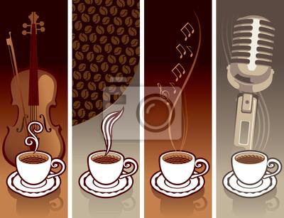 cztery baner z filiżanką kawy i sprzęt muzyczny