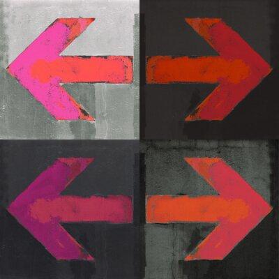 Fototapeta Cztery czerwone strzałki namalowane na ścianie, grunge, projekt ustaw strzałki