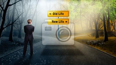 Fototapeta Czy zdecydujesz się musi podjąć drogę do starego lub nowego życia