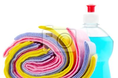 czyszczenia szmata z butelki płynu do mycia naczyń