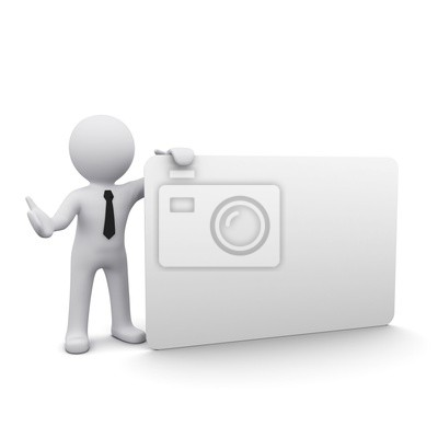 Fototapeta # D mężczyzna z białym papierze