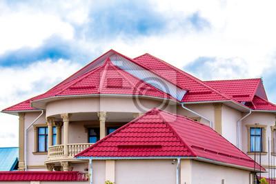 Fototapeta Dach domu z profilu metalowego