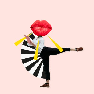 Fototapeta Dancing office woman in classic suit like a ballet dancer headed by the big red female lips against trendy coral background. Negative space to insert your text. Modern design. Contemporary art collage