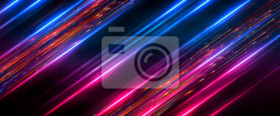 Fototapeta Dark abstract futuristic background. Neon lines, glow. Neon lines, shapes. Pink and blue glow.
