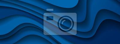 Fototapeta Dark blue paper waves abstract banner design. Elegant wavy vector background