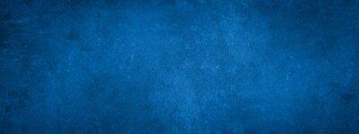 Fototapeta Dark blue stone concrete paper texture background banner panorama with vignette