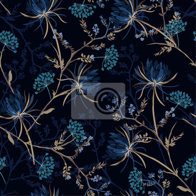 Fototapeta Dark garden night  monotone blue color Seamless pattern of soft and graceful oriental blooming flowers,botanical vector design for fashion,fabric,wallpaper,and all prints
