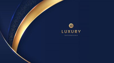 Fototapeta Dark navy blue and gold curve shapes on background with glowing golden striped lines and glitter. Luxury and elegant. Abstract template design. Design for presentation, banner, cover. EPS10 vector