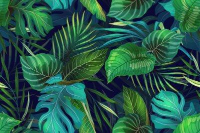 Fototapeta Dark pattern with exotic leaves