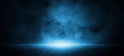 Fototapeta Dark street, asphalt abstract dark blue background, empty dark scene, neon light, spotlights The concrete floor and studio room with smoke float up the interior texture for display products