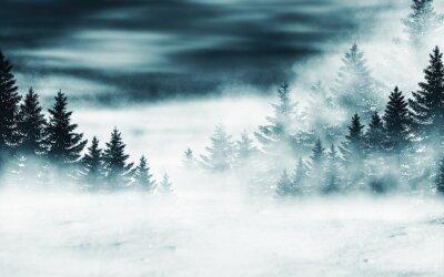 Fototapeta Dark winter forest background at night. Snow, fog, moonlight. Neon figure in the center