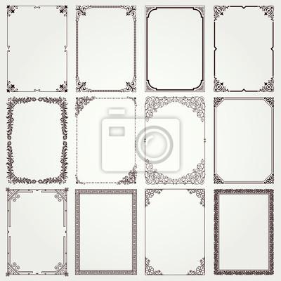 Fototapeta Decorative frames and borders A4 proportions set 4