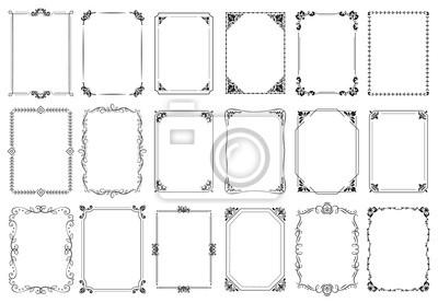 Fototapeta Decorative frames. Retro ornamental frame, vintage rectangle ornaments and ornate border. Decorative wedding frames, antique museum picture borders or deco devider. Isolated icons vector set