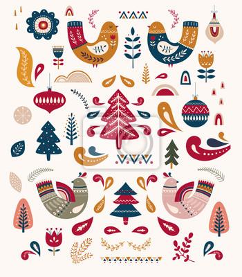 Fototapeta Decorative illustration with Christmas tree and birds