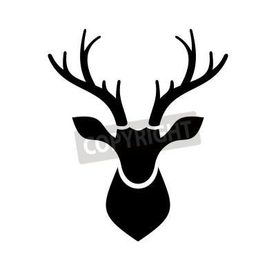 Fototapeta Deer Head Icon na białym tle