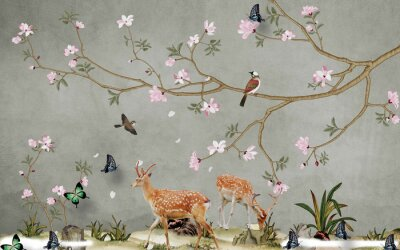 Fototapeta Deer in the meadow, butterflies, birds, trees with pink flowers on a gray background