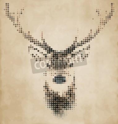 Fototapeta Deer portret wykonany z geometrycznych kształtów - Vintage Design