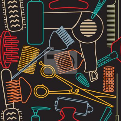Dekoracyjne bez szwu deseń związane fryzjerski