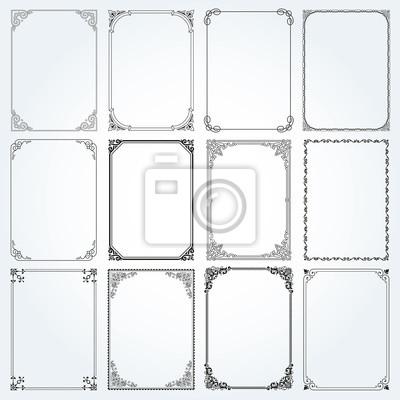 Fototapeta Dekoracyjne prostokąty ramki i wektorowe granic ustawić