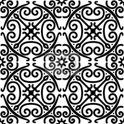 Fototapeta Dekoracyjny wektor bez szwu czarno-biały wzór