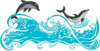 Fototapeta Delfiny skoków na falach