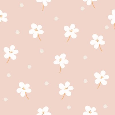 Fototapeta Delicate floral background. Small white flowers and dots on a pink background. Wallpaper, furniture fabric, textile