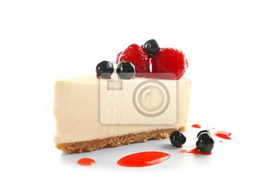 Fototapeta Delicious cheesecake slice with berries on white background