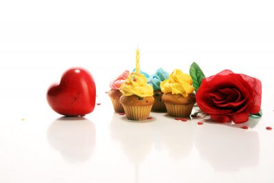 Delicious cupcake for Valentine Day. Traditional homemade with red roses