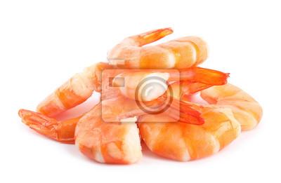 Fototapeta Delicious freshly cooked shrimps isolated on white